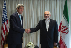 Secretary of State John Kerry meets with Iranian Foreign Minister Javad Zarif in Geneva on January 14 for a bilateral meeting to provide guidance to their negotiating teams before their next round of discussions, which begin on January 15. U.S. Mission/Eric Bridiers